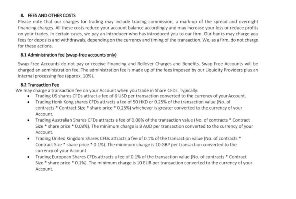 Annexe 2 : extrait de la documentation légale d'une plateforme détaillant le mécanisme de compensation de l'effet levier sous forme de commissions remplaçant terme pour terme les intérêts des comptes conventionnels (ou « non swap-free »)